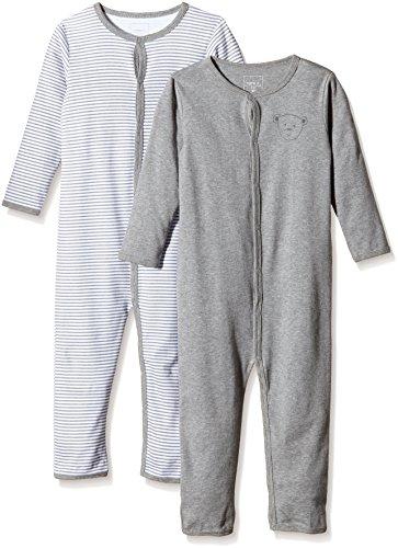NAME IT Baby-Jungen Schlafstrampler NITNIGHTSUIT M NOOS, 2er Pack, Gr. 98, Mehrfarbig (Grey Melange)