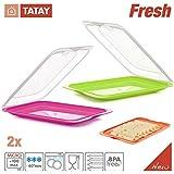 TATAY Lote 2 Porta Embutidos y Alimentos Fresh en Colores Verde y Rosa, medidas 17 x 3.2 x 25.2 cm