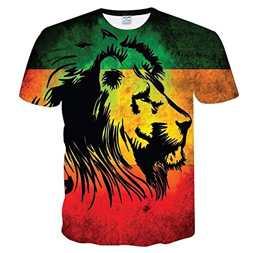 XMDNYE 3D Print Blitz Lion Cool T-Shirt Männer/Frauen Kurzarm Sommer Tops Tees T Shirt Mode