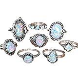 Anelli Donna, ASHOP anello donna anelli il signore degli anelli 8 pezzi anelli set gemma naturale fuoco opale anello di diamanti gioielli di fidanzamento (8 Pezzi, Argento)