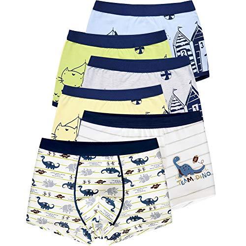 LeQeZe 6 Pack Kinder Jungen Boxershorts Unterwäsche Junge Boxer Unterhose Baumwolle Schlüpfer 2-11 Jahre Größe 86-146 (Boys 6 Pack/03, 4-5Jahre)