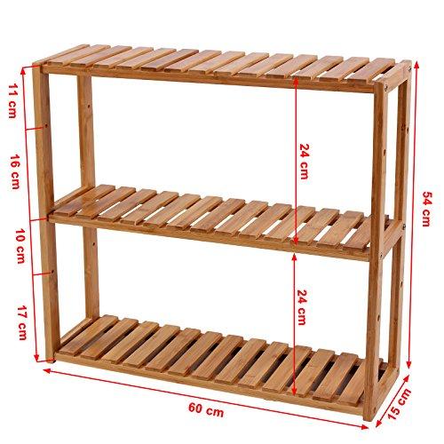 Bambus Wandregal, Badezimmerregal 60 x 15 x 54 cm - 6