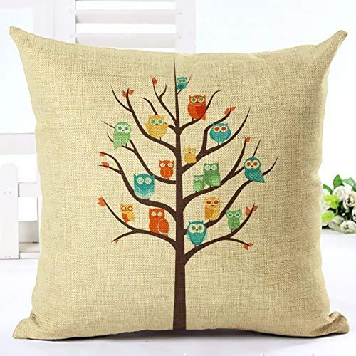 PotteLove Cartoon Birds Cotton Linen Blend Square Decorative Throw Pillow Covers Case Cushion Pillowcase for Sofa Bench Bed Home Decor 26