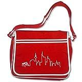 plot4u Freizeittasche Frankfurt Skyline Silhouette Schultasche Bag Base® BagBase Retro Messenger 40x30x10cm rot/weiß