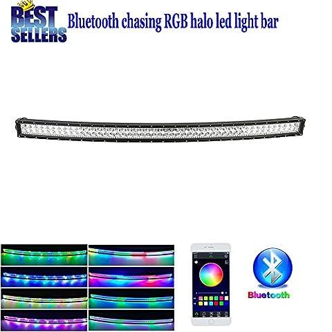 Colorbarz® incurvé 127cm 288W Chasing RGB Halo Barre lumineuse LED avec Bluetooth App de faisceau de câblage pour écouter de la musique et lumières kit Off Road Lights Bluetooth LED pour camion de voiture extérieur 4Wheeler lumières étanche