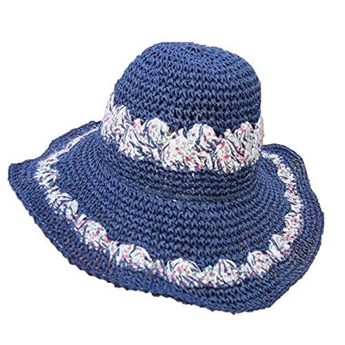 Mai Dou Dames Printemps été Main Plage Chapeau De Soleil blue