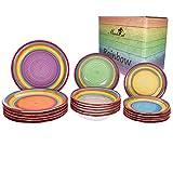 MamboCat 18tlg. Tellerset Ibiza Rainbow für 6 Pers. kunterbuntes Tafel-Geschirr Kuchen-Teller klein + Speiseteller flach + Suppenteller tief Regenbogenfarben