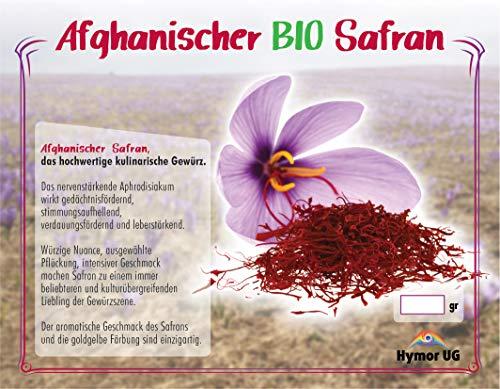 Hymor Safran Fäden 1gramm Super Negin, Safranfäden, Premium Qualität 1A in BIO Qualität Saffron, Zafran Gewürz, Krokus, Safran aus Afghanistan, für z.B. Fleisch, Fisch, Reis, Sushi, Tee, Paella