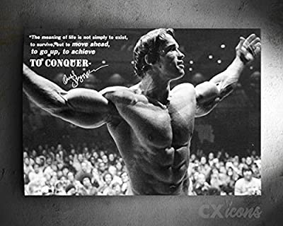 Arnold Schwarzenegger Motivational Quote Photo Print Poster - pre Signed - Superb Quality - Conquer from CX ICONS