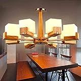 JINQDF Massivholz Kopf Kronleuchter American Holzkunst japanischen Stil Wohnzimmer Restaurant Eiche Zuckerwürfel einfache kreative LED Kronleuchter (Size : 8heads)