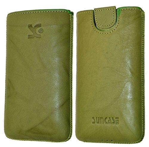 Original Suncase Tasche für / Emporia PURE / Leder Etui Handytasche Ledertasche Schutzhülle Case Hülle - Lasche mit Rückzugfunktion* in wash grün