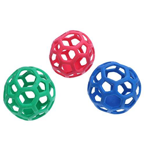 UKCOCO Hohl Behandlung Bälle, Ungiftig Weichen Gummi Bälle für Haustiere Kauspielzeug und Zahnreinigung (zufällige Farbe) -