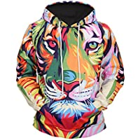 Männer Langarm 3D Digitaldruck Bunte Tiger Mit Kapuze Liebhaber Design  Sport Pullover Hoodies Kapuzenpullover 5b9640bb08