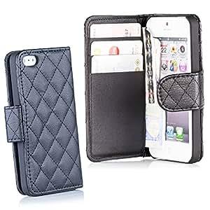 HSRpro confort coque de protection pour iPhone 5 5S avec compartiments pour cartes et monnaie étui de protection à rabat en cuir noir