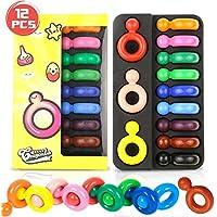 Lápices de colores para niños, Buluri 12 lápices de colores de color dedo no tóxico Forma de anillo de pintura Lápices de colores fácilmente Lápices de colores con forma de palma, regalo de colorante para niños pequeños niños y niñas (Ring Crayons)