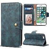 Coque iPhone 6S/6, Premium PU Cuir Housse Etui Coque iPhone 6 6S Rabat Portefeuille de Protection Case Cover avec [Fonction Support] [Fente pour Carte] pour iPhone 6/6S Coque 4.7'' Bleu