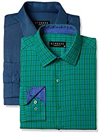 Diverse Men's Checkered Regular Fit Cotton Formal Shirt (Combo Pack of 2)