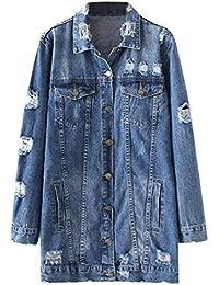 Damen Jeansjacke Lange Fashion Boyfriend Longsleeve Jeans Jacke Herbst  Elegante Relaxed Mädchen Freizeit Einreihig Zerrissen Denim 3735acd1da