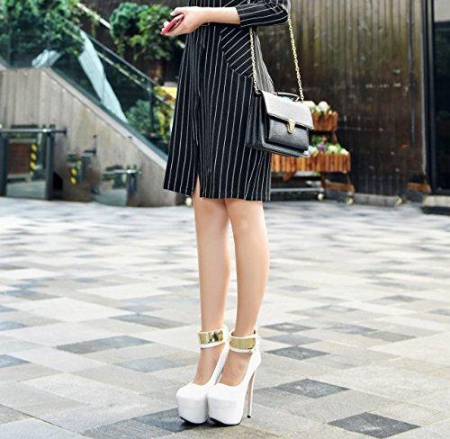 GS~LY Regali Estate tabella impermeabile sandali belle donne con paillettes fibbia tacchi alti White