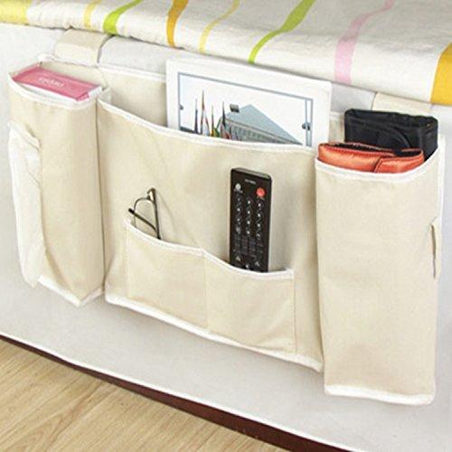 Nopea Bett Organizer Sofa Organizer Nachttisch Organizer Kleiderbügel Nachttisch Pocket Organizer Für Buch Handy Gläser TV Fernbedienung 5 Taschen (Pocket Organizer Sofa)