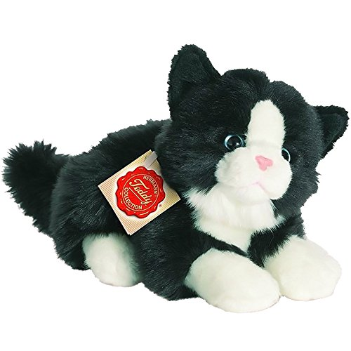 hermann-teddy-collection-906896-20-cm-nero-bianco-gatto-sdraiato-peluche