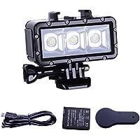 Suptig SJ4000/SJ5000/YI Action - Luz de Buceo de Alta Potencia, Regulable, Resistente al Agua, con luz LED de vídeo, para GoPro Hero 6/5/5S/4/4S/3+/2/SJCAM SJ4000/SJ5000/YI Action