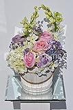 Shabby Chic Roses, Delphinium e Allium composizione floreale