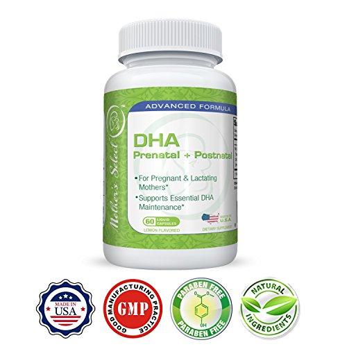 DHA prenatale - Integratore di DHA per mamme in stato di gravidanza di Mother's Select - Olio di pesce EPA, 60 capsule softgel, compresse morbide - Gusto limone - Fornisce una volta al giorno gli acidi grassi essenziali per le mamme in stato di gravidanza o in fase di allattamento!