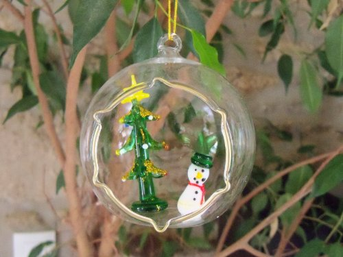 Boule de Noel en verre soufflé bonhomme de neige et sapin