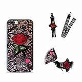 iPhone 8 Plus Hülle, MingKun Spitze Lace Rose Schutzhülle für iPhone 7 Plus/iPhone 8 Plus Handyhülle Kratzfeste Stoßdämpfende Case Cover - Rose Schwarz