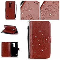 For LG Spirit 4G LTE H440 C70 Case [With Tempered Glass Screen Protector],idatog(TM) Magnetic Flip Book Style Cover Case ,High Quality Classic Elegant Bling Sparkle Rhinestone Flower Butterfly Pattern Design Premium PU Leather Folding Wallet Case With [Lanyard Strap] and [Credit Card Slots] Stand Fu