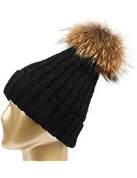 HMILYDYK Invierno Knit Beanie Sombrero Desmontable de Mapache sintética  Piel Pom Pom Bobble Gorro Beanies para b21a63ca207