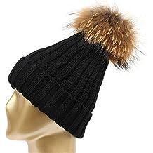 HMILYDYK invierno Knit Beanie sombrero desmontable de mapache sintética piel Pom Pom Bobble gorro Beanies para mujer niñas