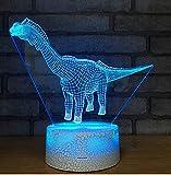Dino-Sprung-Basis-Nachtlampe 3D bunte Note führte die Lampe der reizenden Karikaturkinder der Kinder 7 7 Farbänderung 3d Leuchte