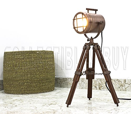 Antike Kupfer Schreibtisch Scheinwerfer Tischlampe Holzstativ Nautisch Stand LED Suchscheinwerfer