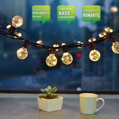 , CroLED LED Lichterkette 10M 30 Birne G40 Schnur Lichter Wasserdicht String Licht als Innen Außen Beleuchtung Deko für Weihnachten Hochzeit Garten Party Haus mit Ersatzbirne (Außen-lichterketten)