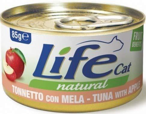 Lifecat Natural per Gatto in Scatoletta da 85 Gr, Tonnetto e Mela