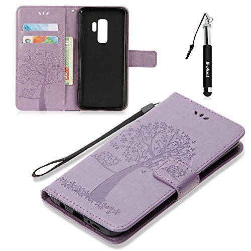 Huphant Galaxy S9 Hülle, Samsung Galaxy S9 Handy Hülle Leder Tasche Schwarz Schutzhülle Wallet Case für Samsung Galaxy S9 tascheStand Kartenfächer Magnet -Lila