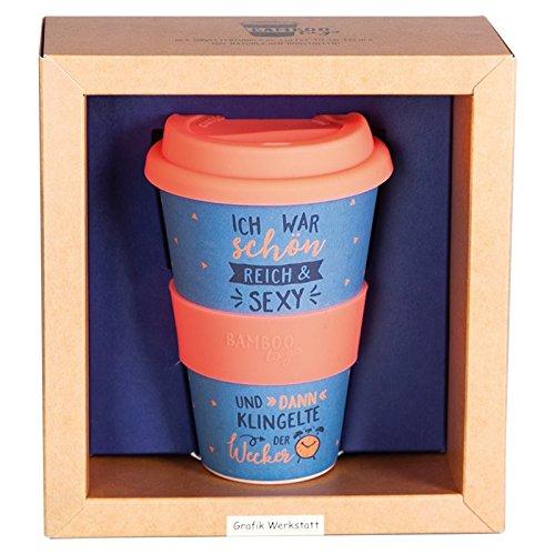 Grafik Werkstatt Bambusbecher mit Deckel | Kaffee-Becher | Coffee 400 ml | Bamboo-to-go | Schön, reich, sexy, Bambus, Mehrfarbig, 9 x 9.5 x 14 cm -