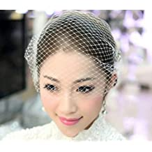 Fengh mujeres boda novia color blanco corto velo Hairwear