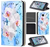 CoverFix Premium Hülle für Samsung Galaxy J5 (Modell 2017) J530F Flip Cover Schutzhülle Kunstleder Flip Case Motiv (1112 Orchidee Blume Pink Rosa Blau)