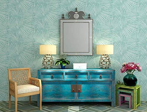 Palm Leaf Schlafzimmer Wohnzimmer Veranda TV Hintergrund nicht gewebte Blau