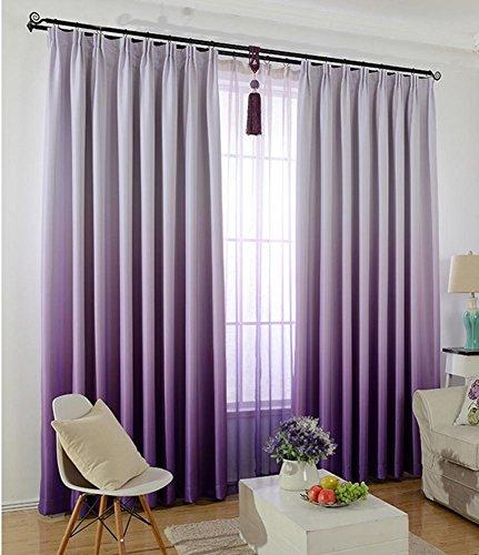 Sliao home alto grado solido colore grazioso tende ombreggiatura moderna gradiente per soggiorno bambini camera da letto tende rosa blu viola, purple, 1pcx(200x260cm)