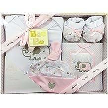 Bee Bo Baby Body Set de regalo, sombrero, patucos, álbum de fotos, de peluche, baberos, Bebés canastilla Set & Marco de fotos Navidad regalo pack 0–3meses (talla única)