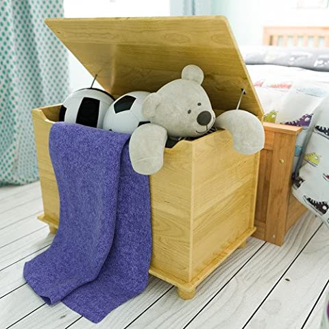Blanket/Toy Box Organizer Storage Kids Chest Bin Made From High Quality Wood Construction Type Material Bedroom Furniture, Lidded Antique Varnished Pine Finish, Charming Design Capsicum Collection, Perfect Size Of 52.07cm Height x 73.66cm Width x 45.72cm