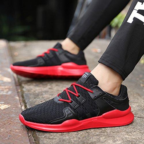 NEOKER Laufschuhe Herren Damen Low Top Sneaker Schwarz 36-46 Schwarz + Rot