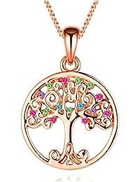 """Murtoo """"Baum des Leben """"Damen-Halskette mit Bunte Swarovski Element kristalle für Damen"""