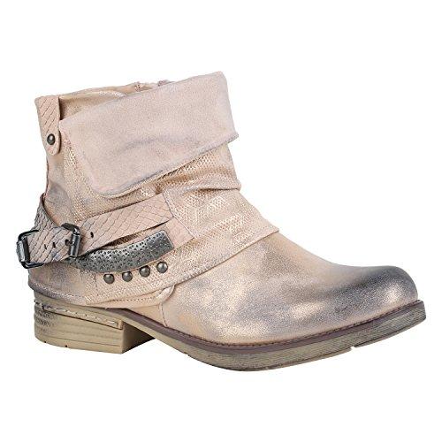 Damen Schuhe Stiefeletten Biker Boots Nieten Schnallen Leder-Optik 156856 Rosa Schnallen 39 Flandell