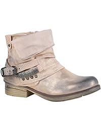 Stiefelparadies Damen Stiefeletten Biker Boots Schnallen Nieten Knöchelhohe Stiefel Leder-Optik Flandell