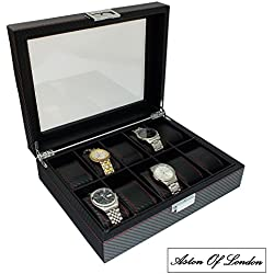 Gents Carbon Fibre Effect PU Leather 10 Watch Organiser Storage & Display Case by Aston Of London®